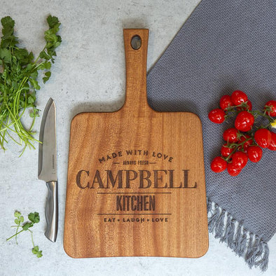 Personalized Mahogany Keystone Handled Cutting Boards -  - Qualtry