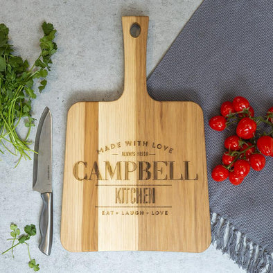 Personalized Hickory Keystone Handled Cutting Boards -  - Qualtry