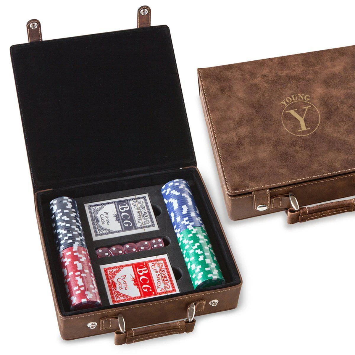 Personalized Rustic Faux Leather 100 Chip Poker Set