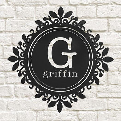 Personalized Name Metal Sign with Filigree – Griffin Design -  - JDS