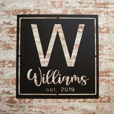 Personalized Family Name Metal Sign with Initial – Williams Design -  - JDS