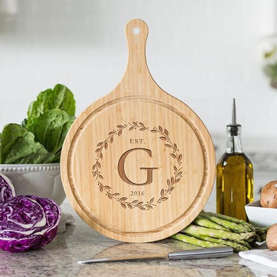 Personalized Large Handled Round Cutting Board with Juice Grooves - Modern Collection -  - Qualtry