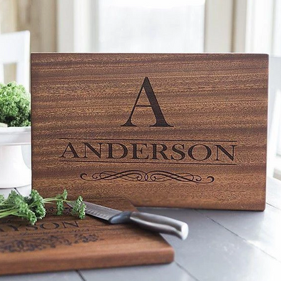 Personalized Beautiful Large Mahogany Cutting Board - 11 Designs -  - Qualtry