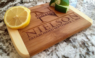 Personalized 6x8 Bamboo Cutting Board with Rounded Edge -  - Qualtry