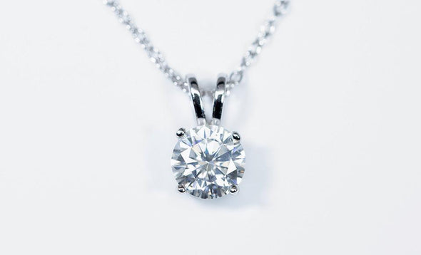 Moissanite Pendant Necklace (1 Carat Total Weight) -  - Qualtry