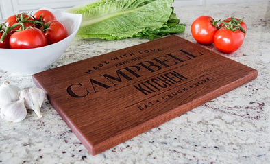 Personalized 10x15 Mahogany Cutting Board (Modern Collection) -  - Qualtry