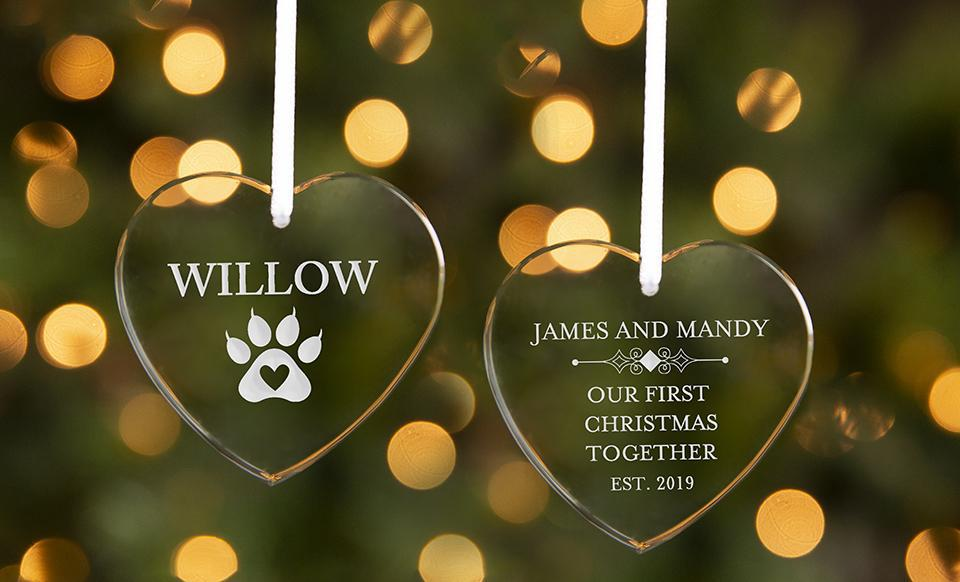 Personalized Heart-Shaped Crystal Ornaments