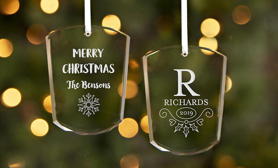 Personalized Votive-Shaped Crystal Ornaments