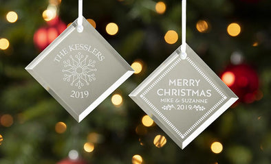 Personalized Diamond-Shaped Mirror Ornaments -  - Qualtry