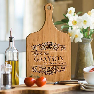 Personalized Handled Wood Serving Boards - XL -  - Qualtry