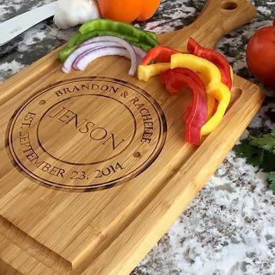 Personalized Large Handled Cutting board with Juice Grooves -  - Qualtry