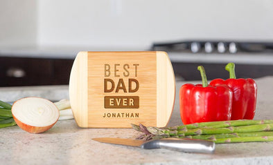 Personalized Two-Tone (Rounded Edge) Bamboo Cutting Boards for Dad -  - Qualtry