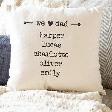 Personalized Family Names Throw Pillow Cover for Dad – Farmhouse Style -  - Qualtry
