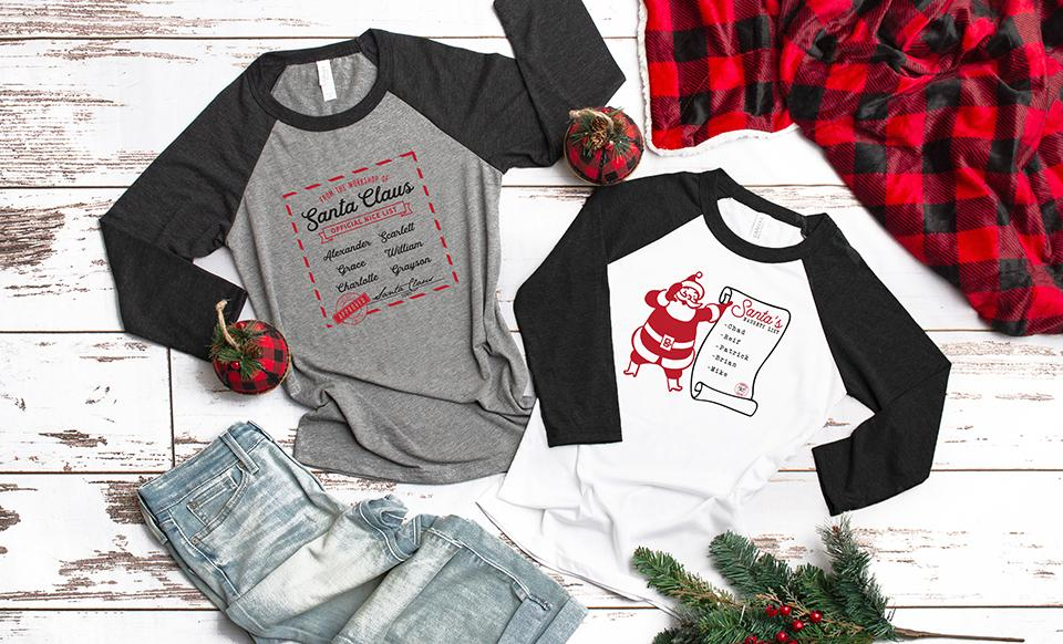Personalized Santa's Nice or Naughty List T-Shirts