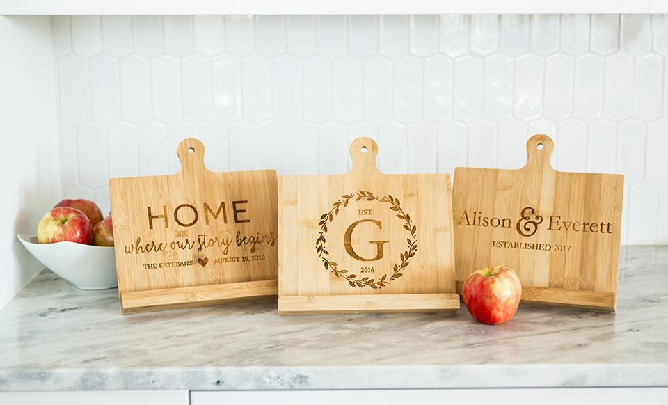 Personalized Bamboo Cookbook Holder