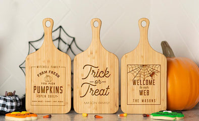 Personalized Halloween Small Handled Bamboo Cutting Boards -  - Qualtry