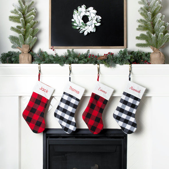 Personalized Plaid Christmas Stockings -  - Qualtry
