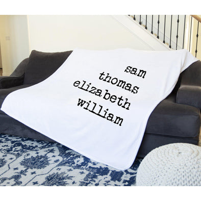 Personalized Family Names Plush Throw Blanket -  - Qualtry