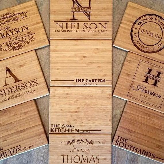 Personalized Bamboo Cutting Board 6x8 Single Tone