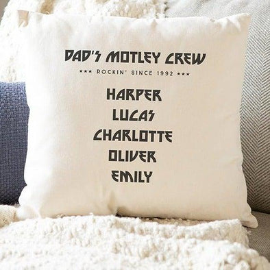 Personalized Family Names Throw Pillow Cover for Dad – Motley Crew -  - Qualtry
