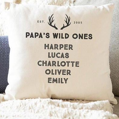 Personalized Family Names Throw Pillow Cover for Dad – Wild Ones Collection -  - Qualtry