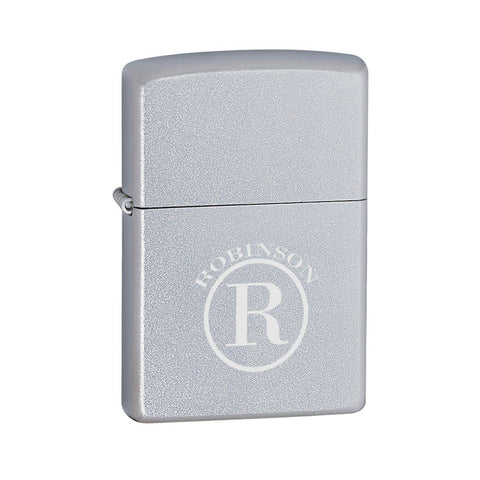 Personalized Lighters - Zippo - Satin Chrome - Circle - Zippo Lighters & Gifts - AGiftPersonalized