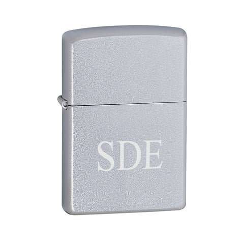Personalized Lighters - Zippo - Satin Chrome - 3Initials - Zippo Lighters & Gifts - AGiftPersonalized