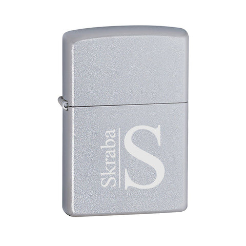 Personalized Lighters - Zippo - Satin Chrome - Modern - Zippo Lighters & Gifts - AGiftPersonalized