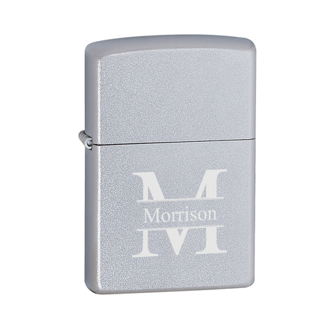 Personalized Lighters - Zippo - Satin Chrome - Stamped - Zippo Lighters & Gifts - AGiftPersonalized