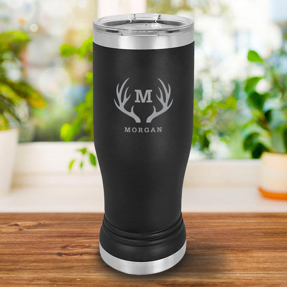 Personalized 20oz. Black Insulated Pilsner - Antlers - JDS