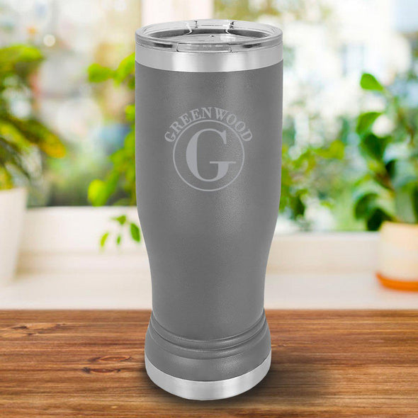 Personalized 20oz. Gray Insulated Pilsner - Circle - JDS
