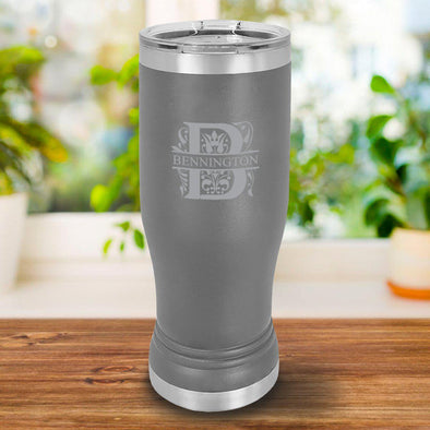 Personalized 20oz. Gray Insulated Pilsner - Filigree - JDS