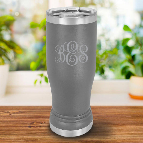 Personalized 20oz. Gray Insulated Pilsner - IMF - JDS