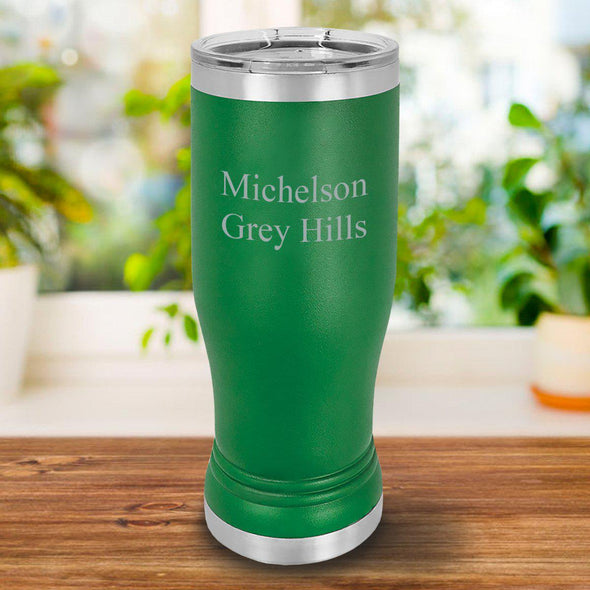 Personalized 20oz. Green Insulated Pilsner - 2Lines - JDS