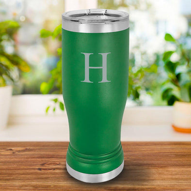 Personalized 20oz. Green Insulated Pilsner - SingleInitial - JDS