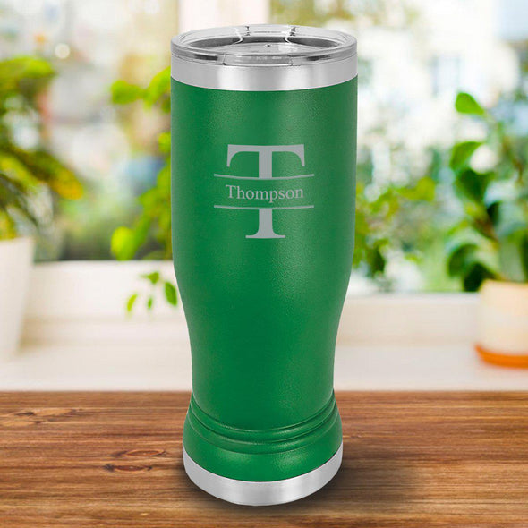 Personalized 20oz. Green Insulated Pilsner - Stamped - JDS