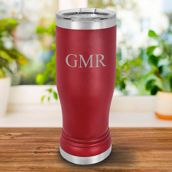 Personalized 20 oz. Maroon Pilsner - 3Initials - JDS