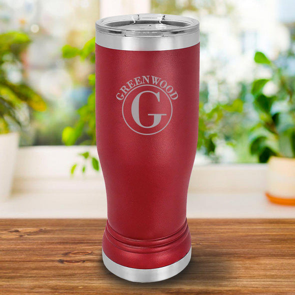 Personalized 20 oz. Maroon Pilsner - Circle - JDS