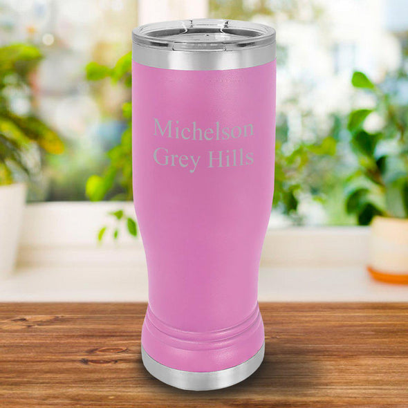 Personalized 20oz. Pink Insulated Pilsner - 2Lines - JDS