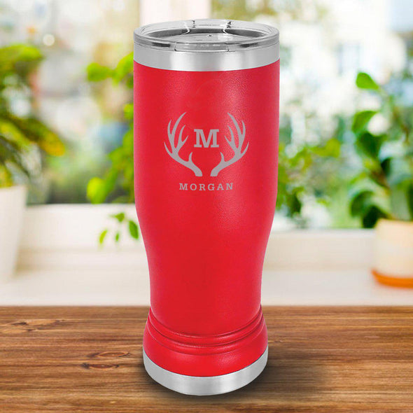 Personalized 20oz. Red Insulated Pilsner - Antlers - JDS