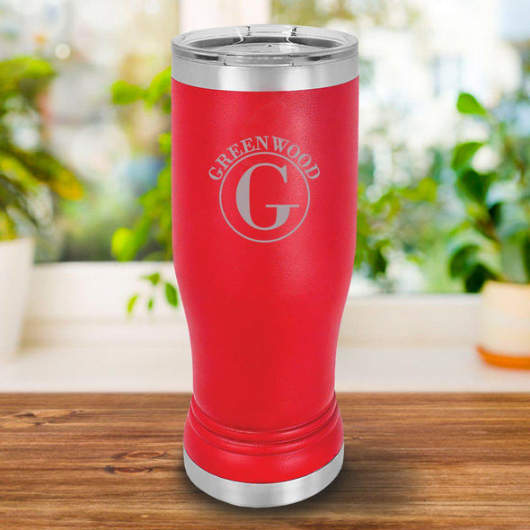 Personalized 20oz. Red Insulated Pilsner - Circle - JDS