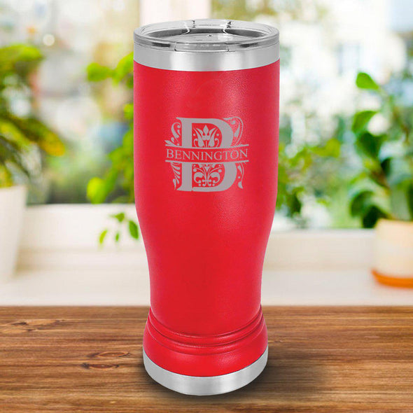 Personalized 20oz. Red Insulated Pilsner - Filigree - JDS