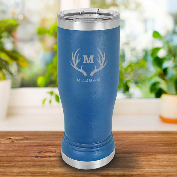 Personalized 20oz. Royal Blue Insulated Pilsner - Antlers - JDS