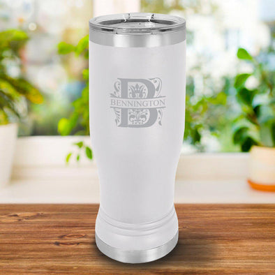 Personalized 20oz. White Insulated Pilsner - Filigree - JDS