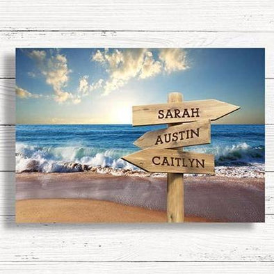 Beach Canvas Print with Signposts for Multiple Names -  - JDS