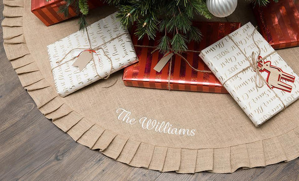 Personalized Burlap Christmas Tree Skirt -  - Qualtry
