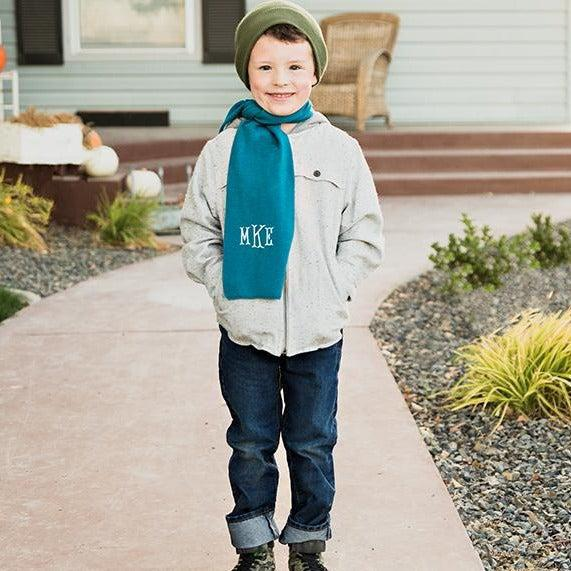 Personalized Children's Knit Scarves - Teal - Qualtry