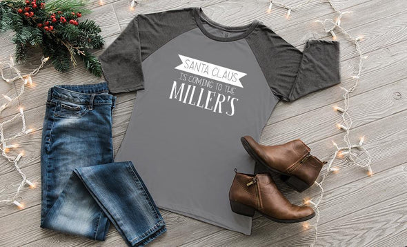 'Tis the Season Raglan 3/4 Sleeve Ladies T-Shirts - Grey Frost with Black Frost Sleeves / XS - Qualtry