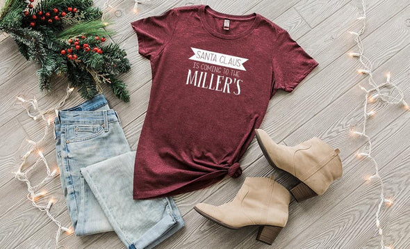 'Tis the Season Ladies Crew T-Shirts - Heathered Red / XS - Qualtry