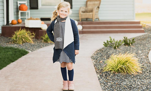 Personalized Children's Knit Scarves - Grey - Qualtry